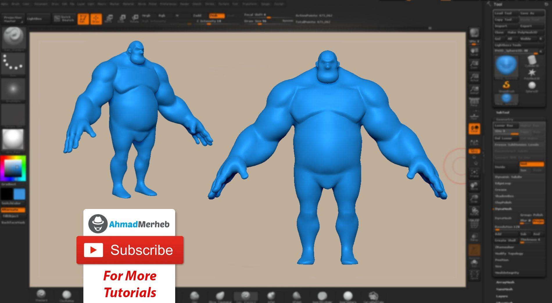 Zbrush Tutorial - Character Creation Part01 - Blocking