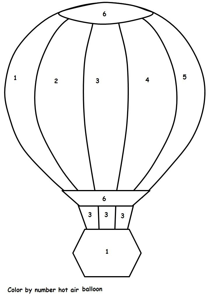 Color By Number Hot Air Balloon Sayilara Gore Renk Renkler Ve Balon