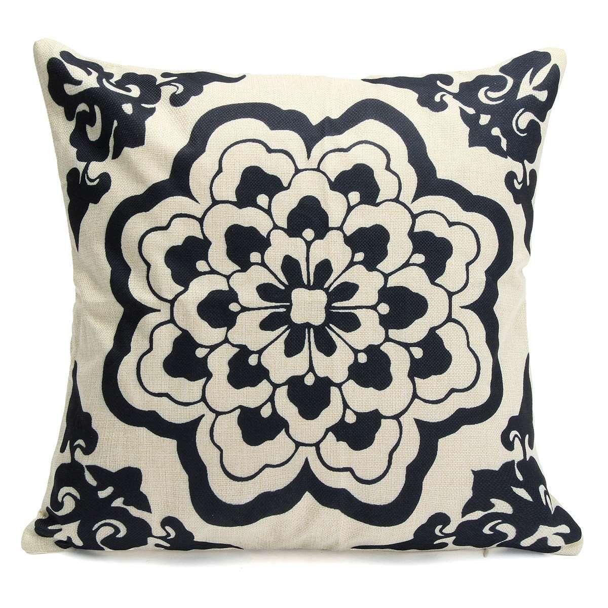 Pillow case porcelain cotton linen cover floral vintage oriental