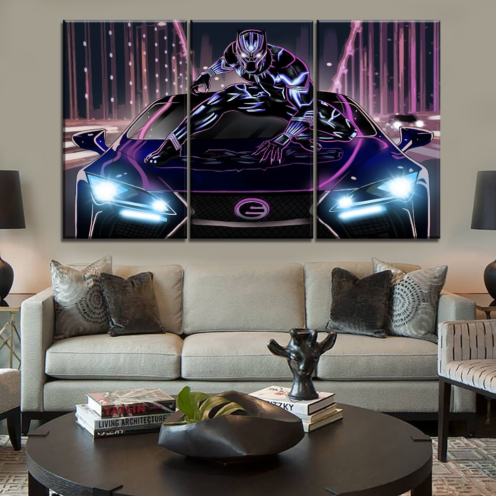 3 Piece Black Panther And Car Neon Artistic Painting Home