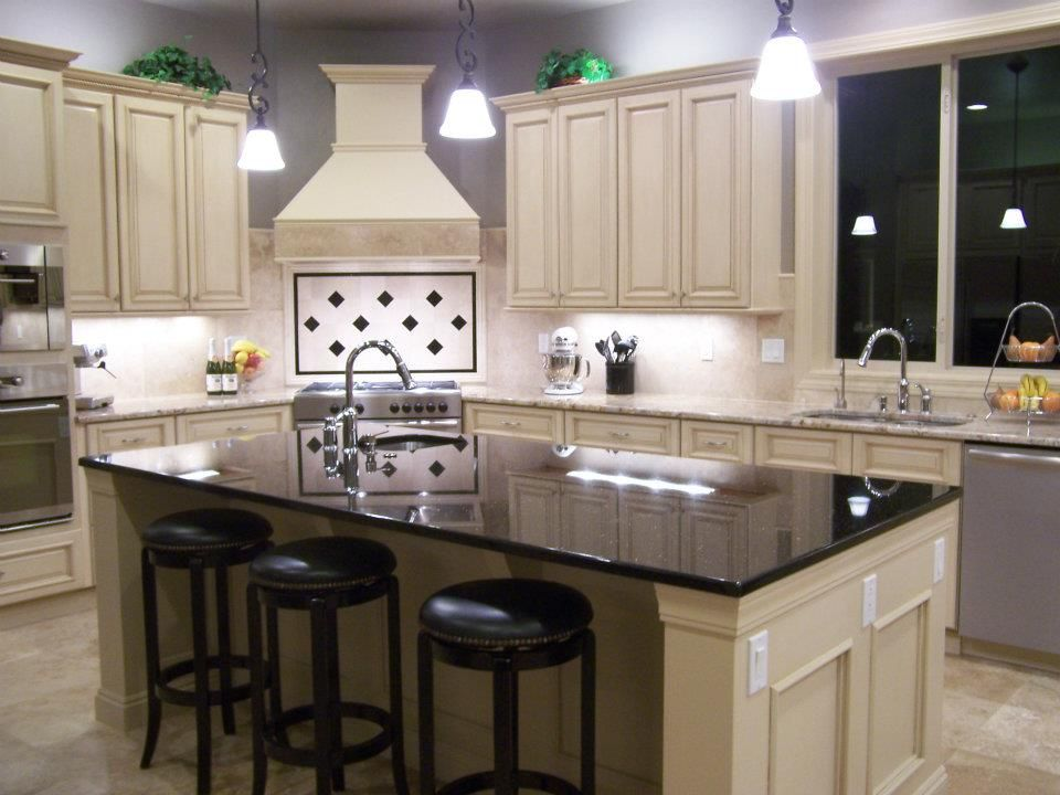 Awesome Corner Stove Top With Custom Built Decorative Hood Above. [