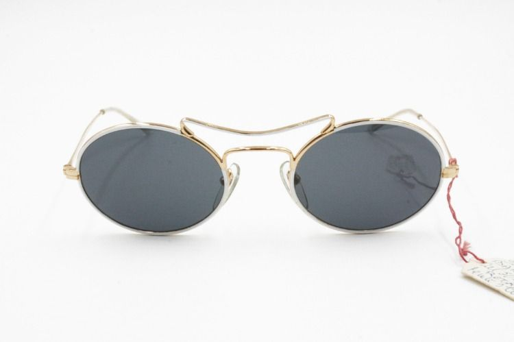 56ccf6e8ad04c Vintage 60s Never produced prototype Modern restyle Aviator Sunglasses  BARBE Golden   white hand colore