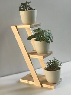 Beautiful 3 Plant Stand - Select American Pine - with or without Ceramic Pots