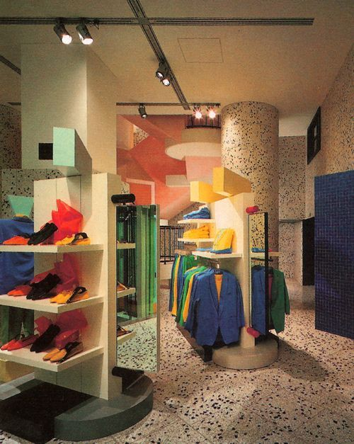 This Interior Of A Esprit Store Is An Example Ettore Sottsas Memphis Style Bold Bright And Playful