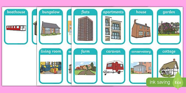 Visual Homes houses and homes flashcards - house, home, flash card, visual aid