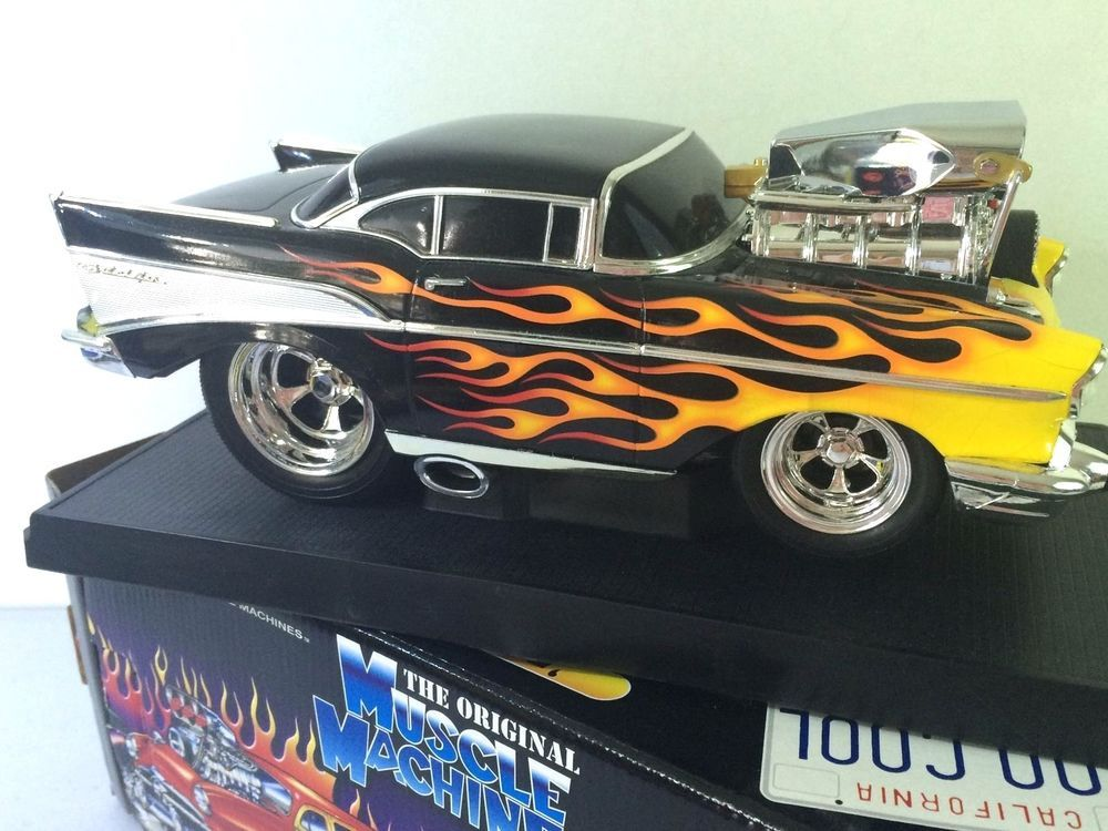 Muscle Machines 1:18 57 CHEVY Black FLAMES Diecast CAR Die Cast ...