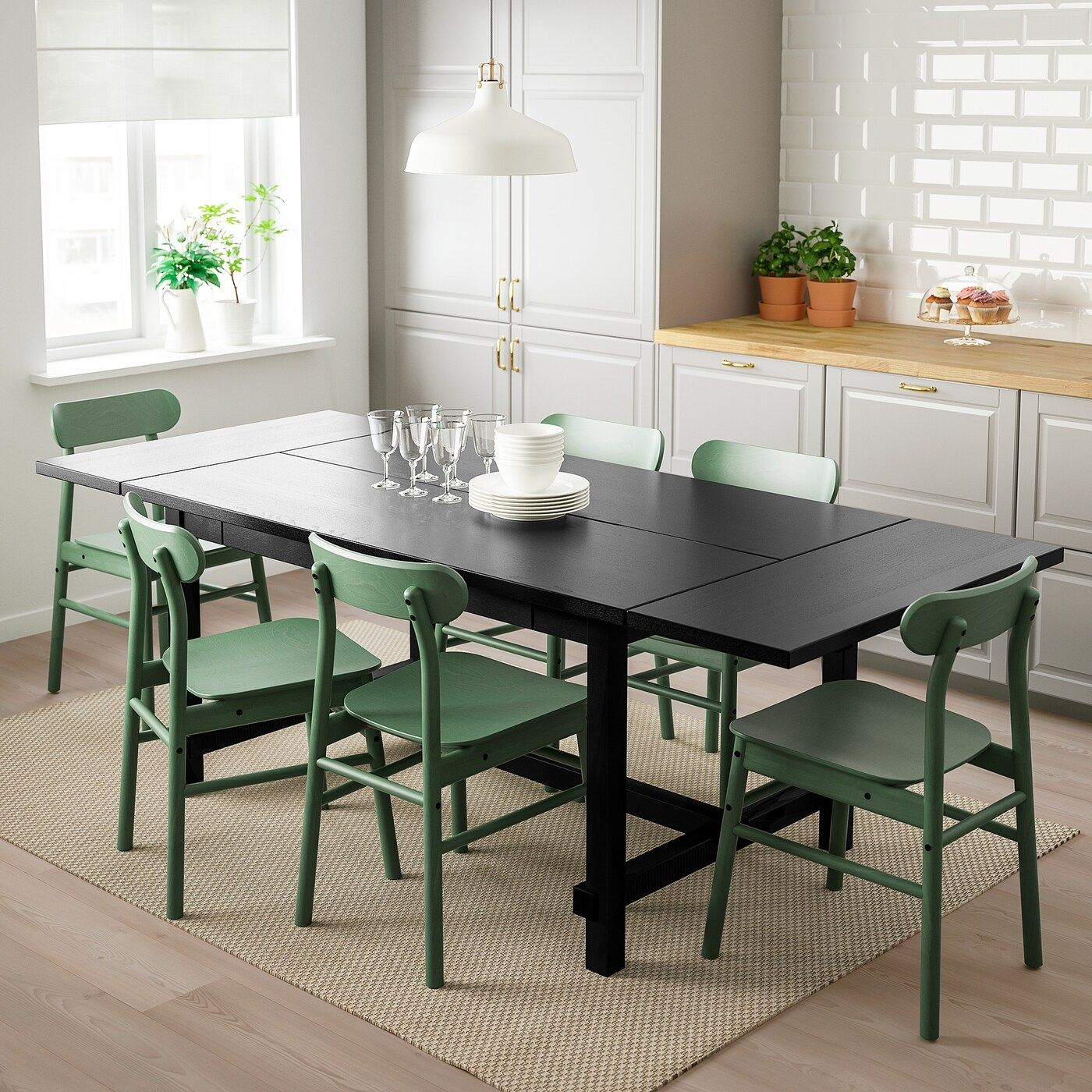 IKEA NORDVIKEN / RONNINGE Black, Green Table and 4 chairs