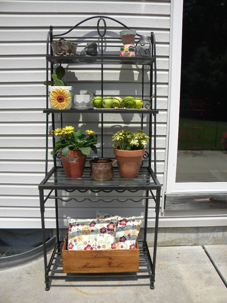 Ideas For Decorating That Outdoor Bakers Rack. The Birds Like To Build  Nests In The Baskets, So Skip That Idea. | Gardening | Pinterest | Bakers  Rack, ...
