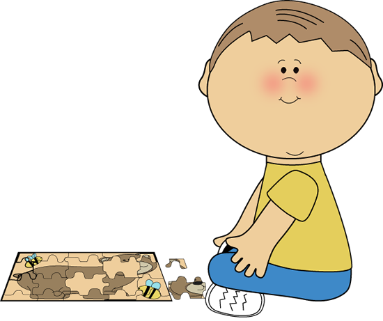 Boy Playing With A Puzzle From Mycutegraphics Cute Doodle Art Preschool Clipart Clip Art