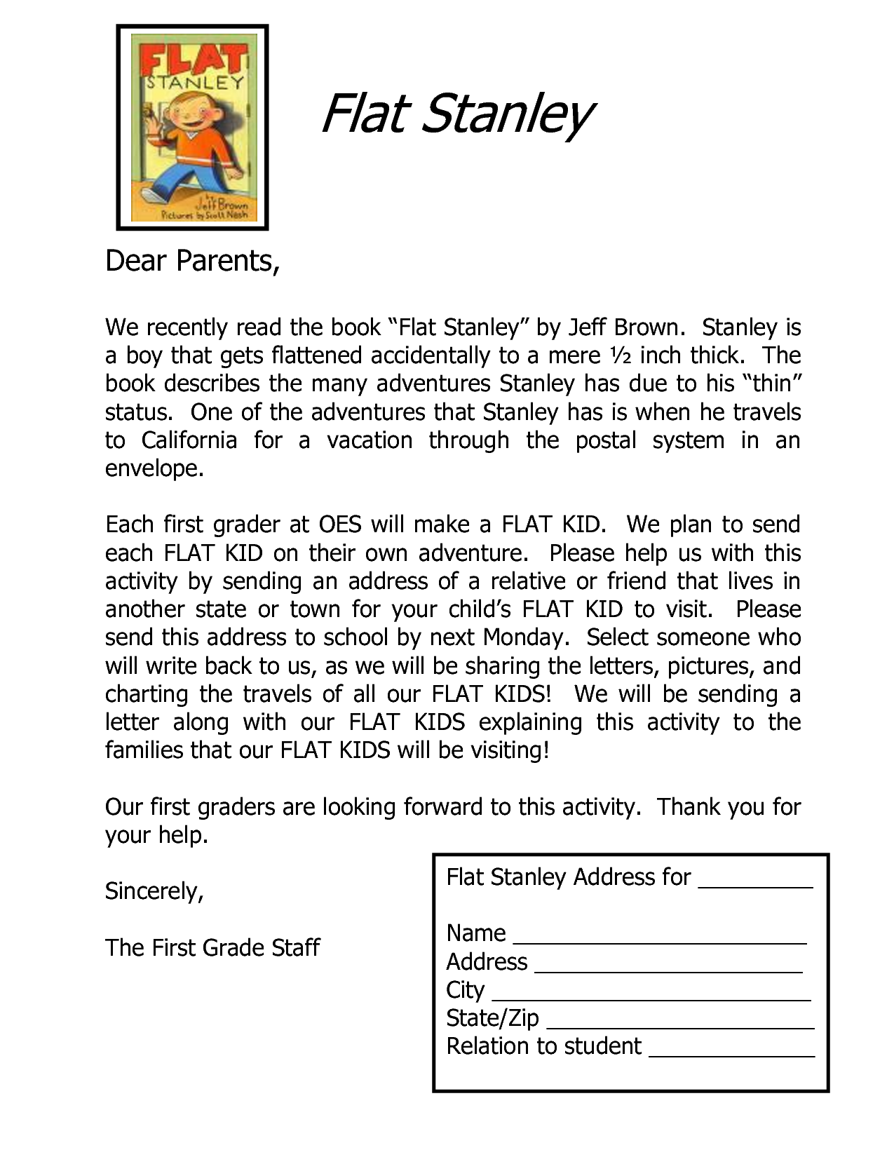 Flat Stanley Letter Template  St Grade    Flat