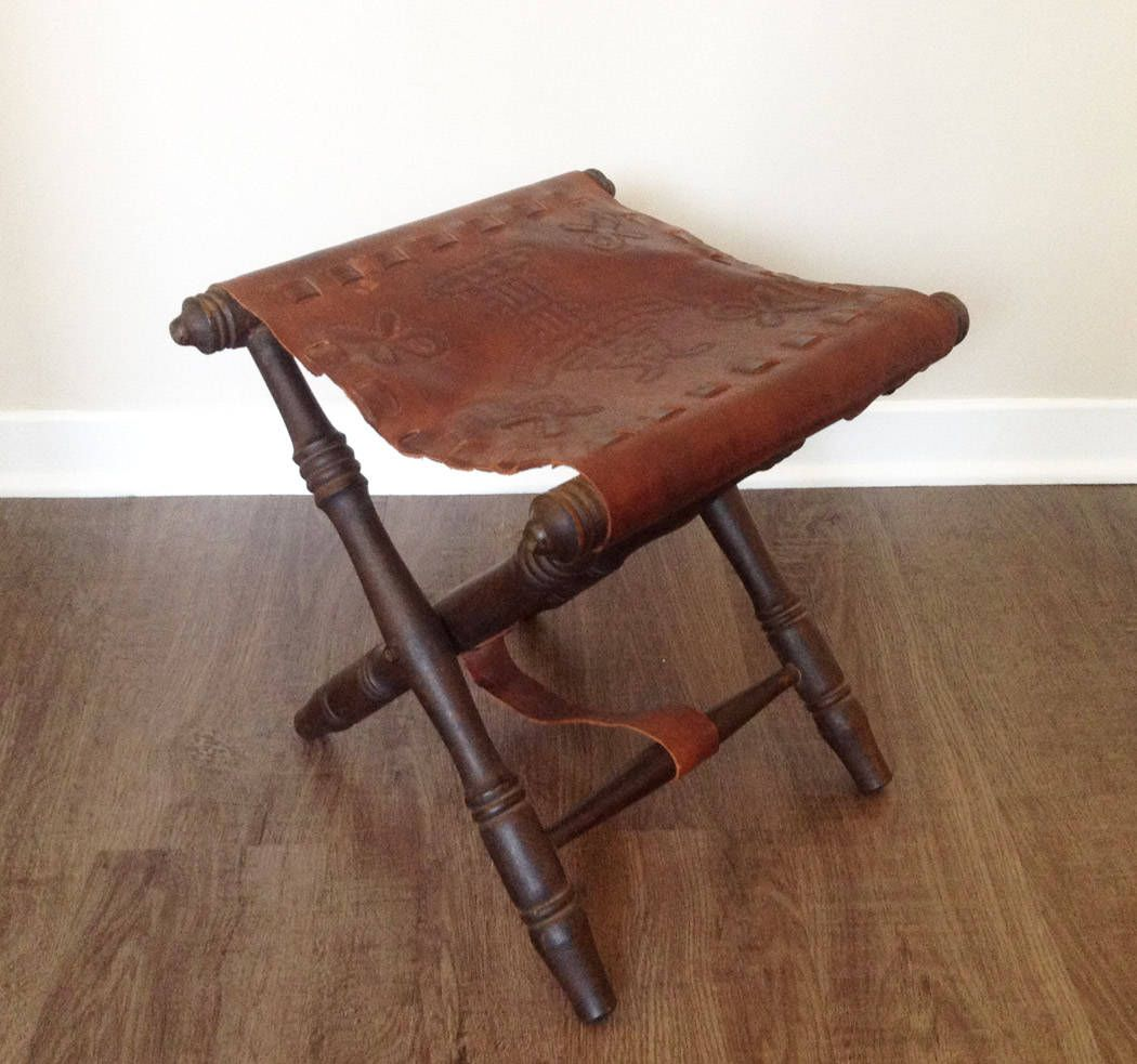 North African Leather Folding Stool From The 1970 S For