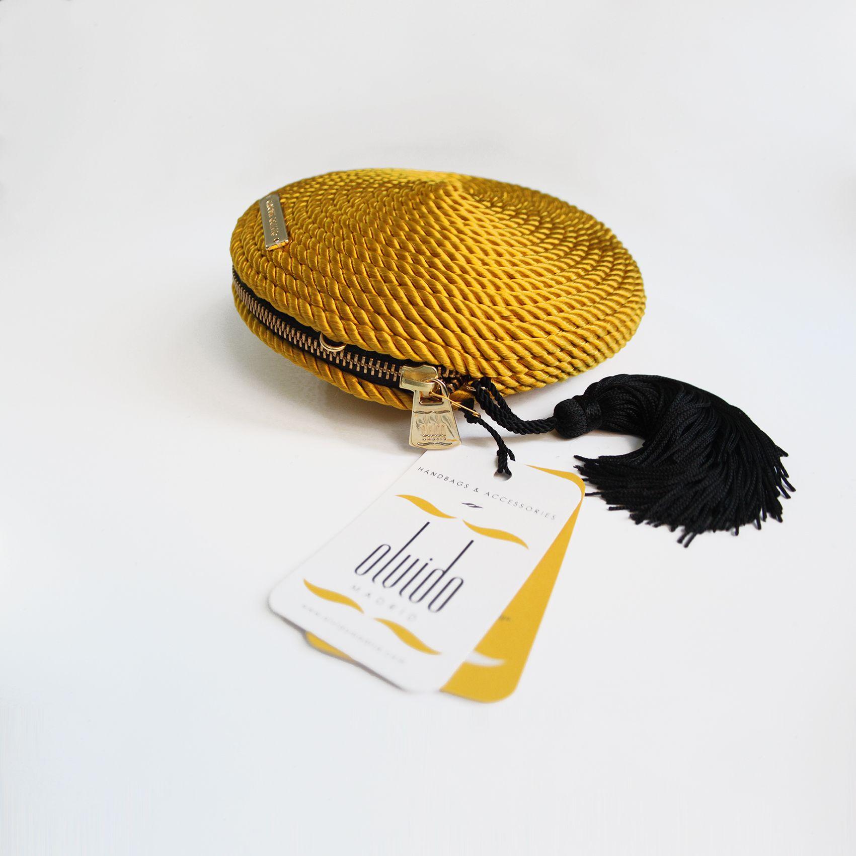 ● Bolso de fiesta hecho en cordón de seda | Modelo Olivia amarillo vintage | Diseños OLVIDO MADRID | www.olvidomadrid.es