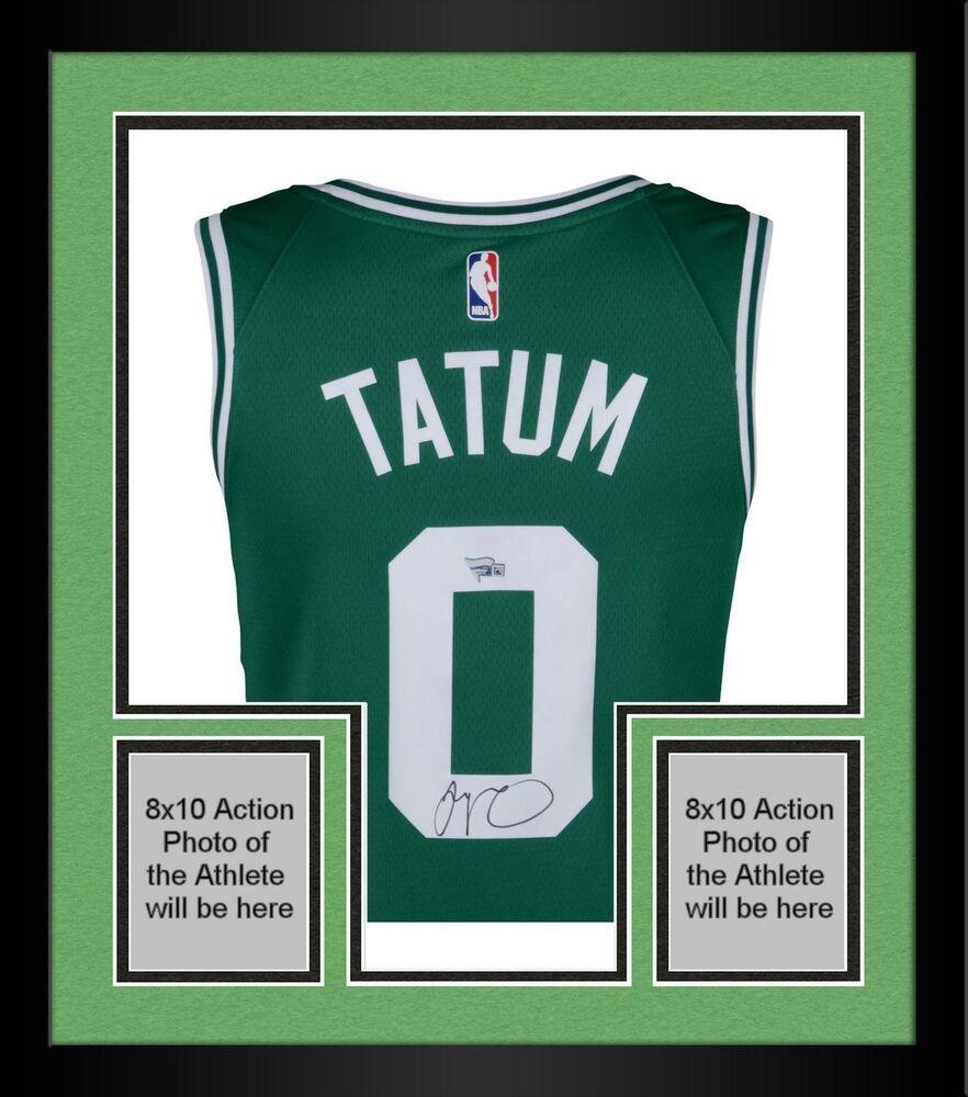 innovative design cd8d7 b7017 Framed Jayson Tatum Boston Celtics Autographed Nike Green ...