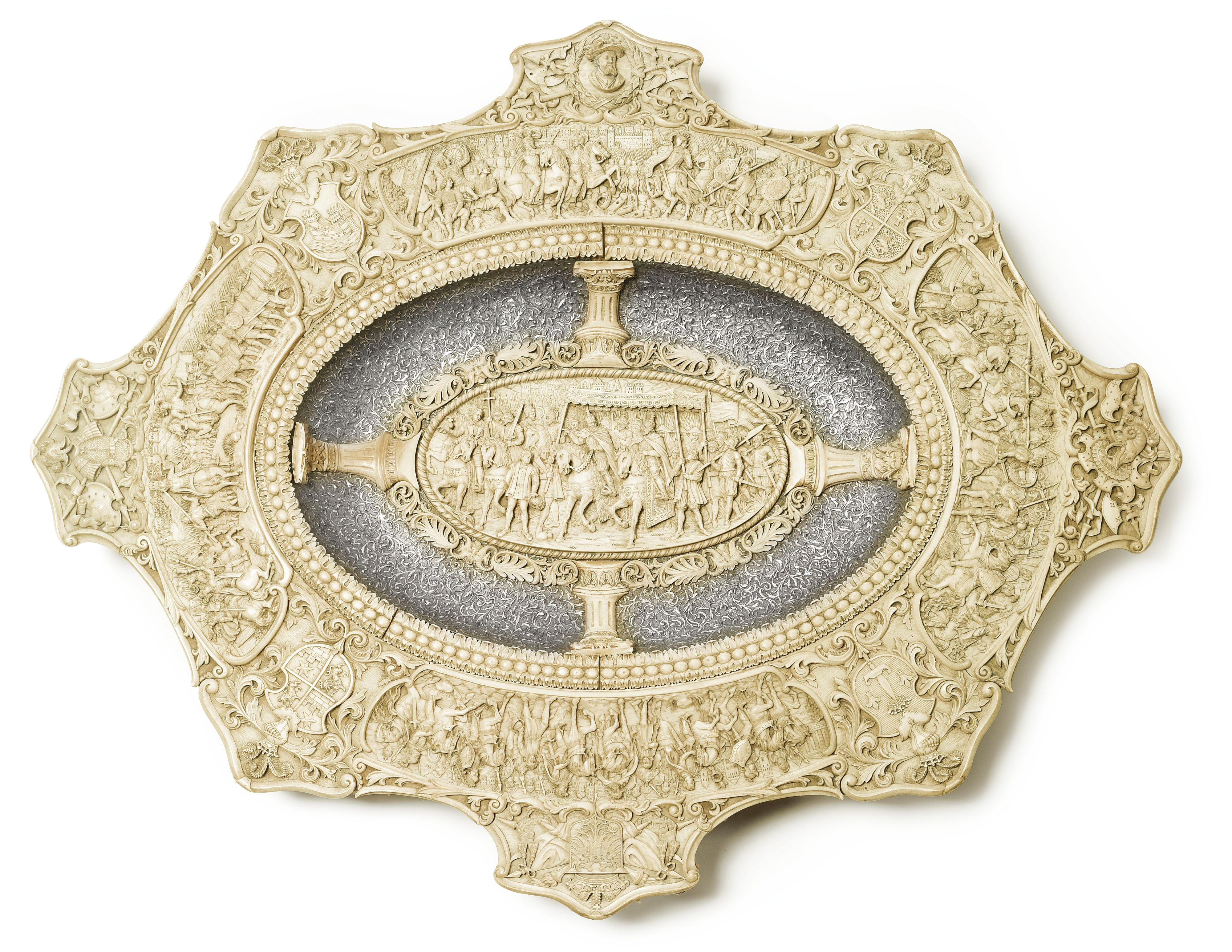 """""""CHARLES V AND POPE LEO"""" A CARVED IVORY AND EMBOSSED SILVER MOUNTED PRESENTATION TRAY.Germany, circa 1870's"""