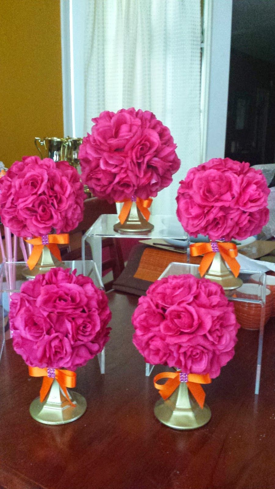 Felicia S Event Design And Planning Orange Pink Rose Ball Centerpieces