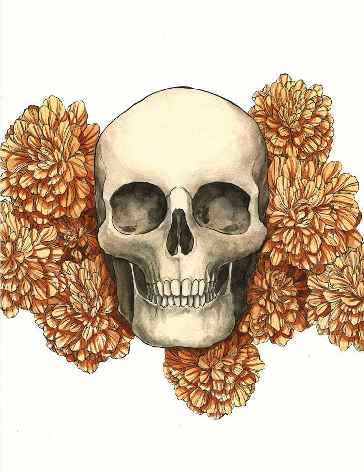 Dia de muertos  Ink and watercolor