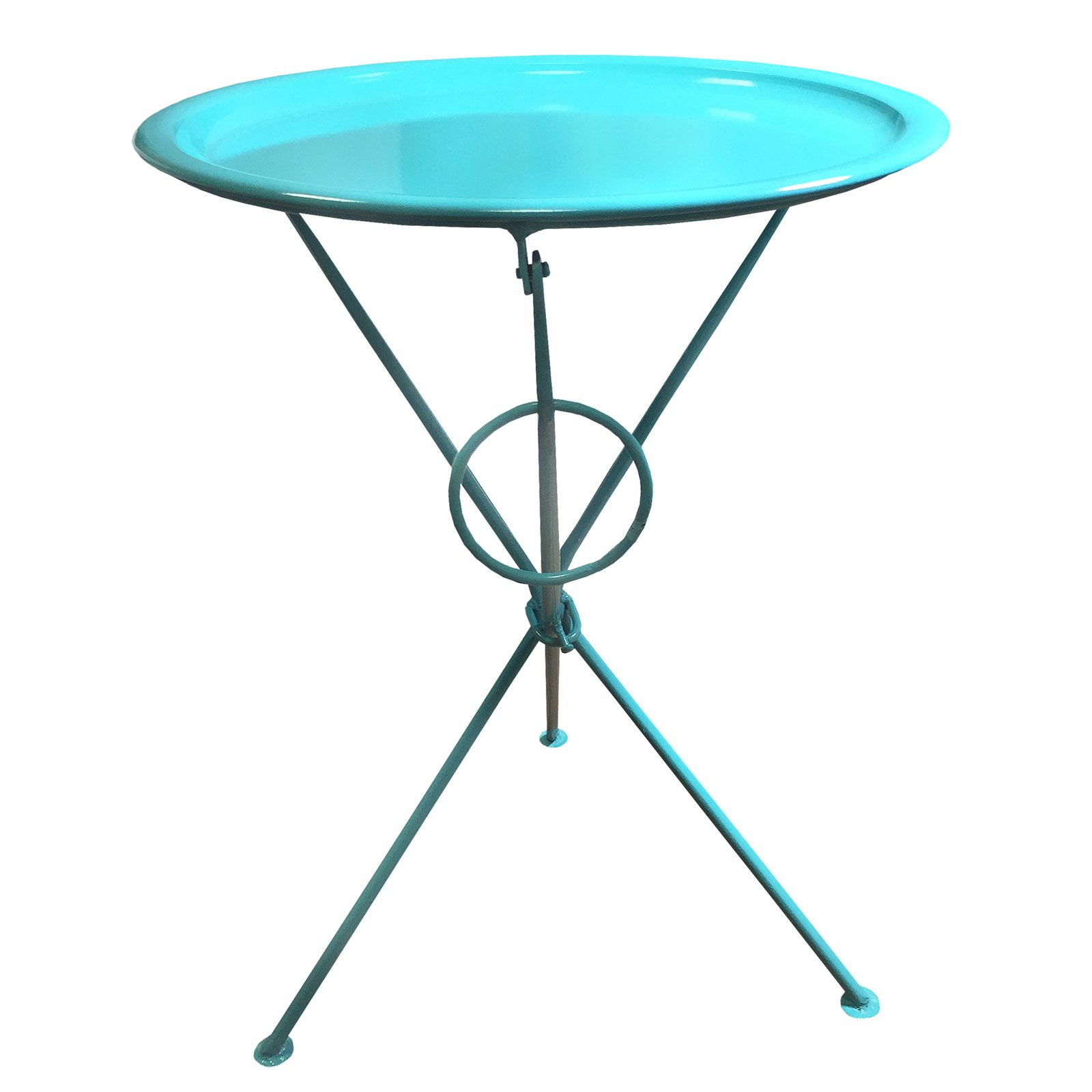 Superbe Bright Coloured Metal Folding Coffee Side Table With Round Serving Tray