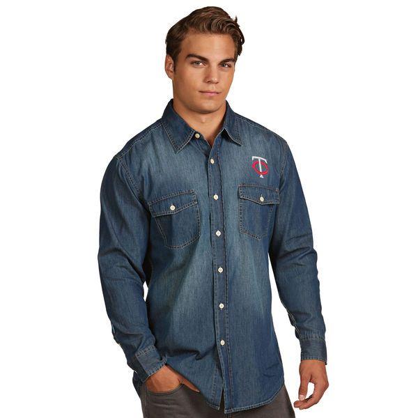 Minnesota Twins Antigua Chambray Button-Up Long Sleeve Shirt - Navy - $52.99