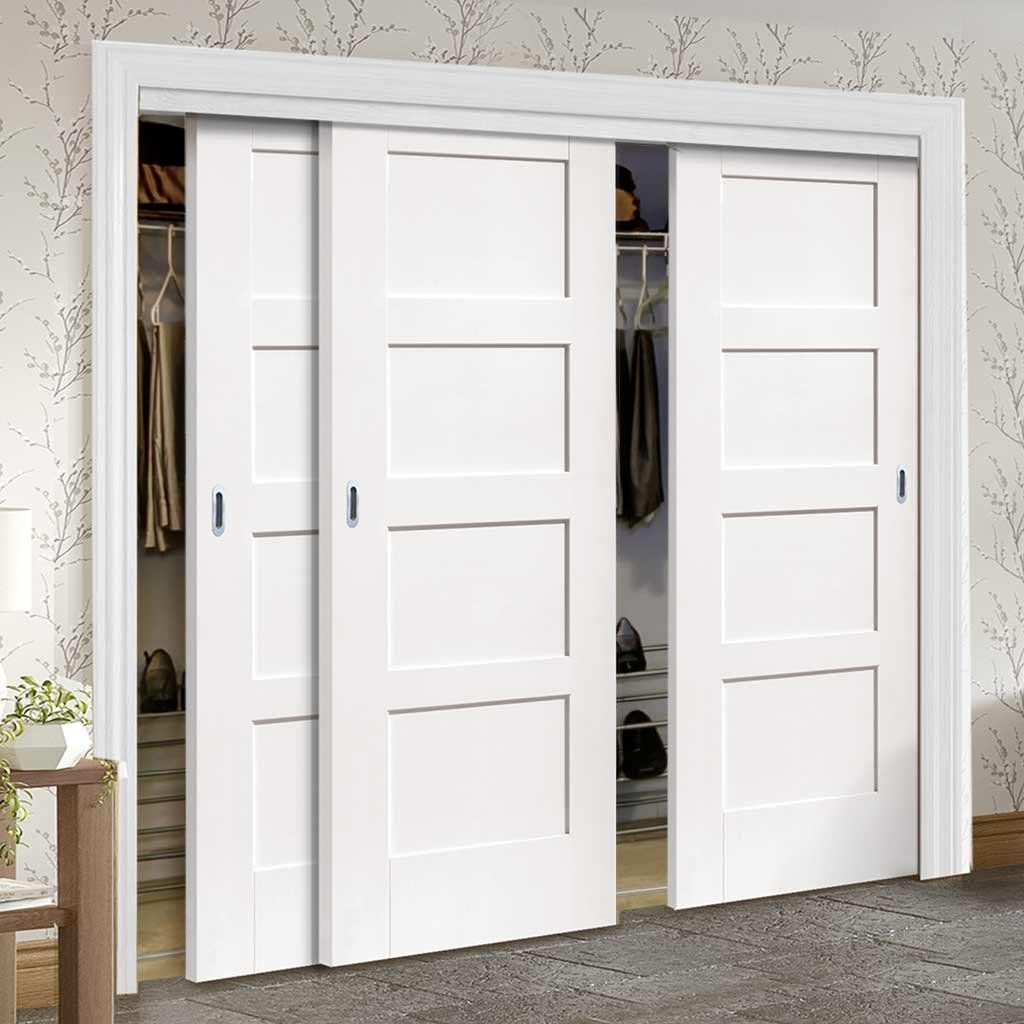 Thruslide Shaker 3 Door Wardrobe And Frame Kit White Primed Lifestyle Image Slidingdoors Wardrobe Doors Sliding Wardrobe Doors Sliding Closet Doors