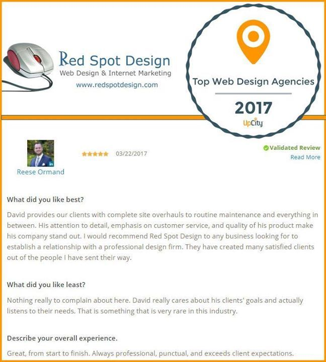 What Makes Red Spot Design One Of The Top Web Design Agencies In Dallas Our Happy Clients David Provides Our Web Design Web Design Agency Top Web Designs