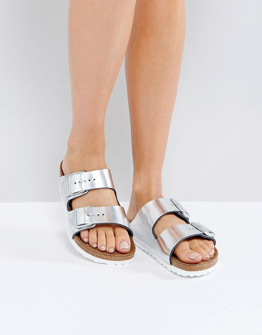 813881d32b6 BIRKENSTOCK ARIZONA METALLIC SILVER LEATHER FLAT SANDALS - SILVER.   birkenstock  shoes