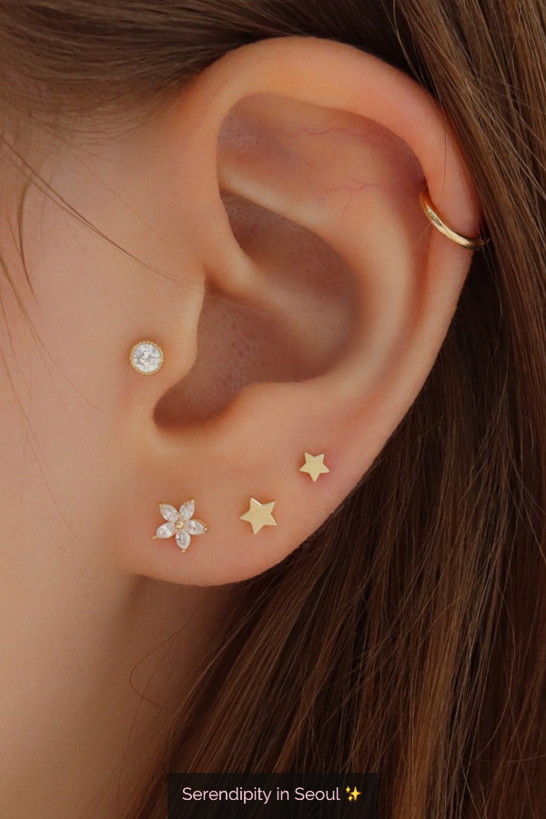 Tiny Star Stud Earring in 14K Gold