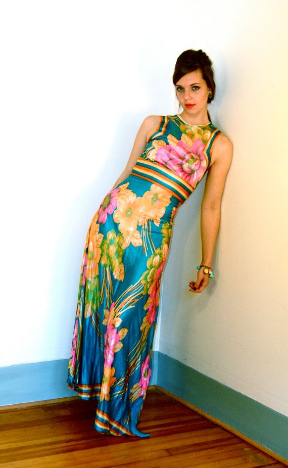 Vintage Maxi Dress 70s Hippie Floral Aqua Pink Yellow Orange Rainbow Stripe Flower Pattern Boho Sexy Slinky Fitted 1970s MAD MEN Long Gown on Etsy, $209.00