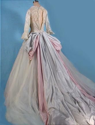 "1950s ""Colonial Style"" Designer Wedding Gown (back) 