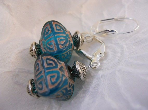 Earrings of Teal Acrylic Boxes by JoJosgems on Etsy, $12.00