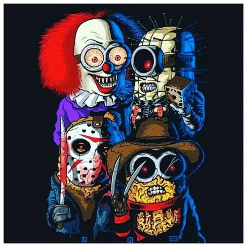 Awesome! #horror #movies #minions #pennywise #hellraiser #jason...