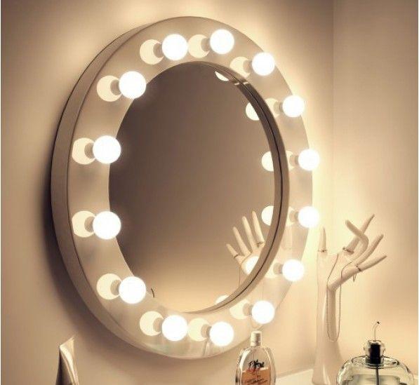 High Gloss Circle Led Hollywood Mirror White Luzes De Led No Espelho Luz De Led Penteadeira Tumblr
