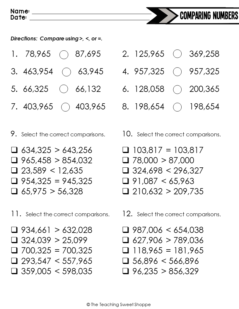 Comparing Greater Numbers Worksheet 4th Grade Comparing Numbers Worksheet Number Worksheets Comparing Numbers [ 1056 x 816 Pixel ]