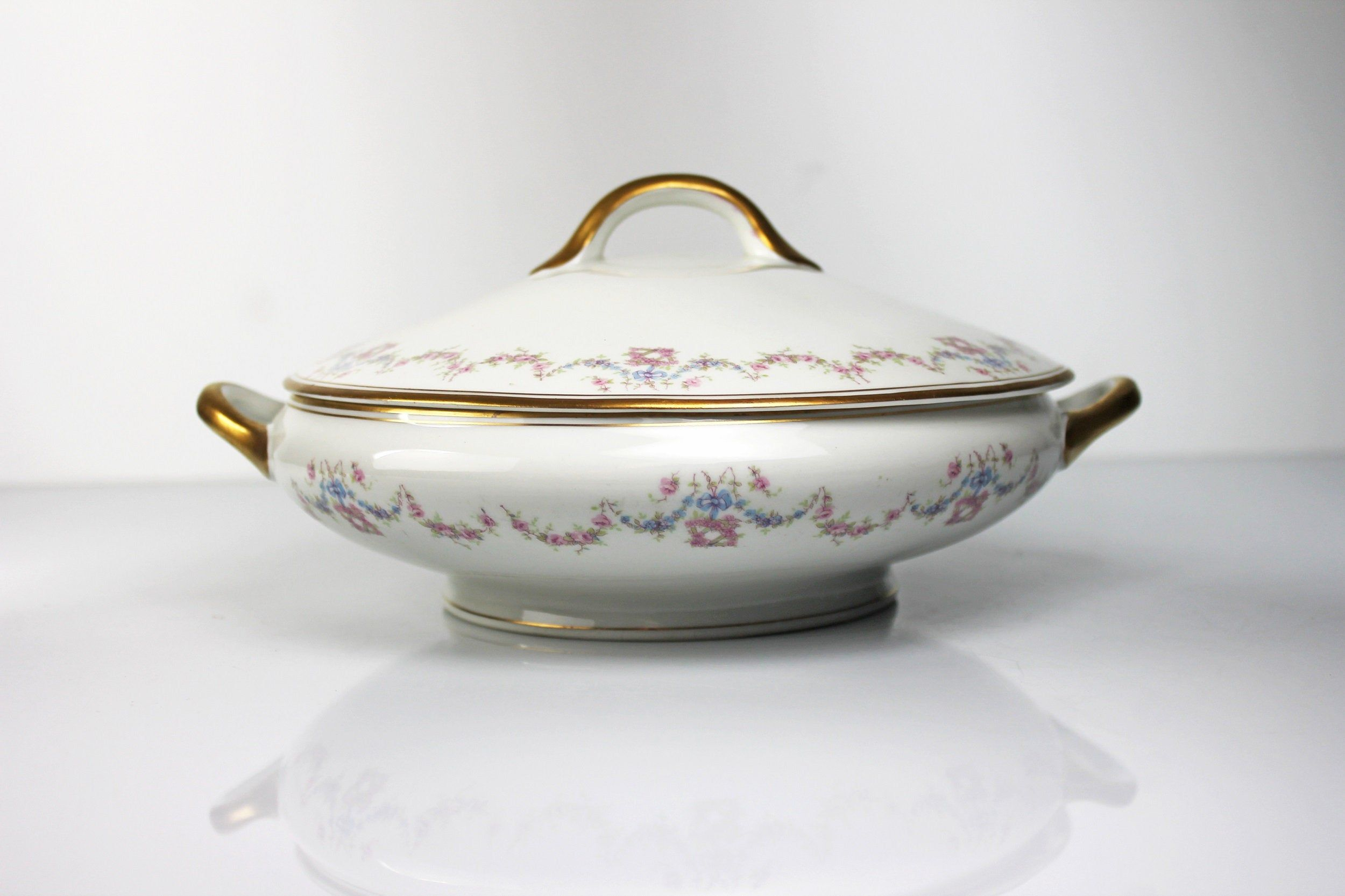 O.P Co Syracuse covered vegetable bowl