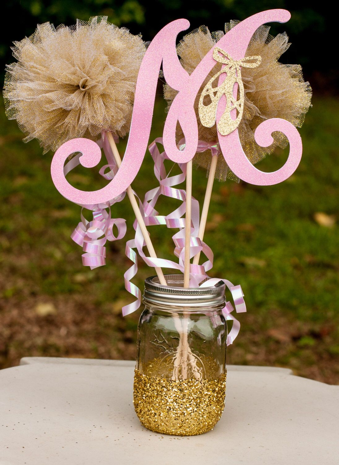 Ballerina baby shower pink and gold girl centerpiece