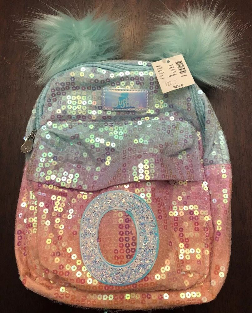 2b8792c751c0 NWT Justice Girls Ombre Mini Backpack Sequin Mermaid Purse Initial O Pink  Bag