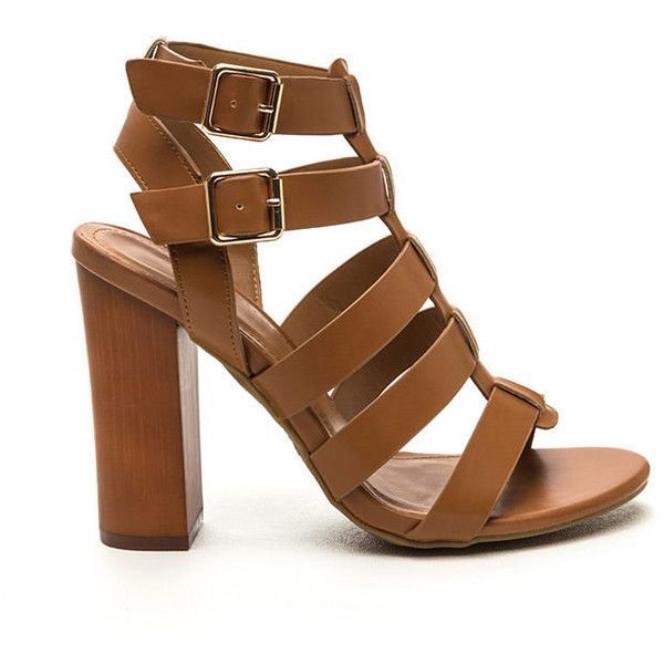 Ladder Climb Caged Chunky Heels TAN (30 AUD) ❤ liked on Polyvore ...