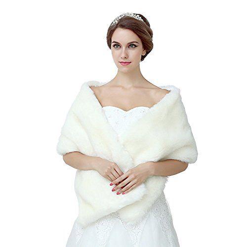 Diyouth White Shawl Wrap Faux Fur Scarf Stoles For Wedding Smile