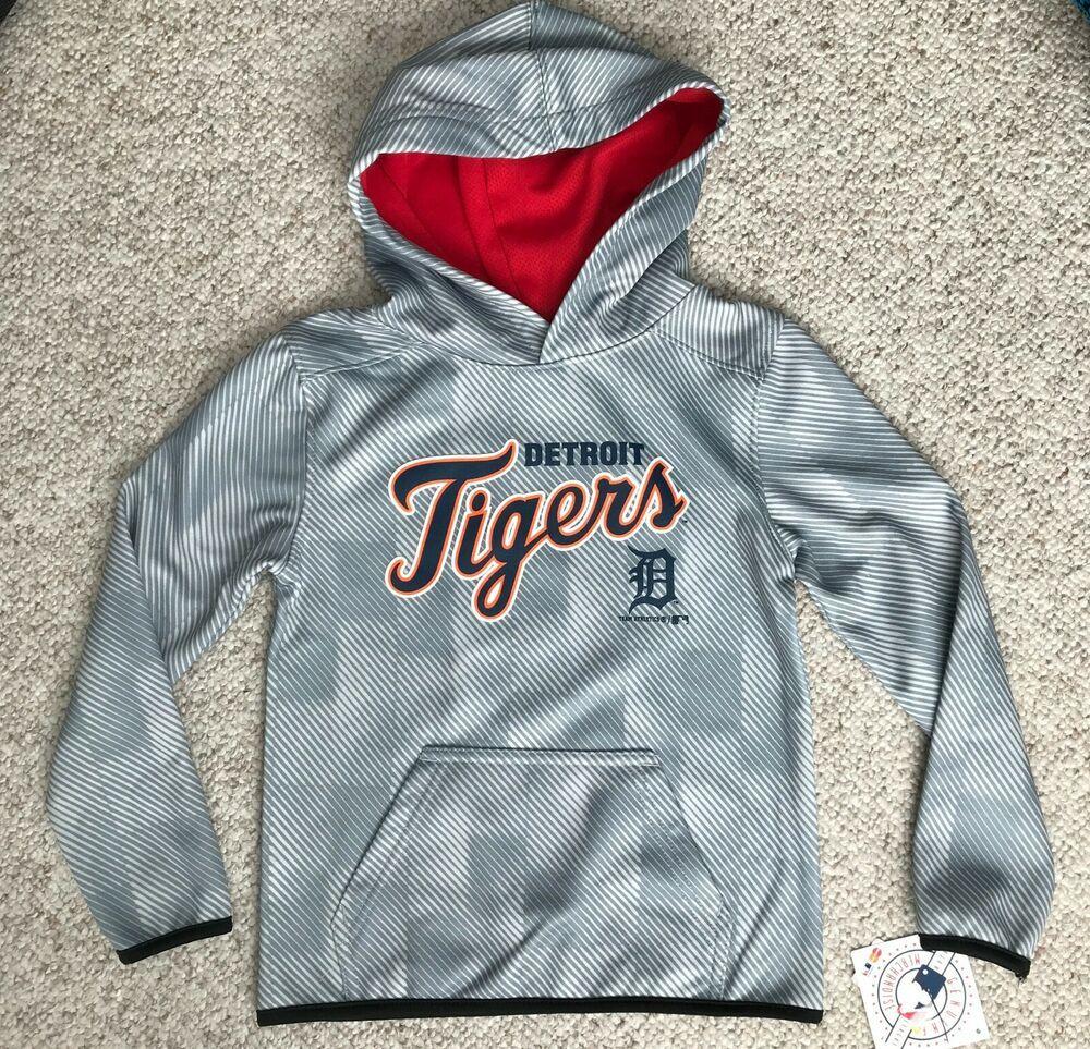 Boys Kid Size 4 5 Detroit Tigers Hoodie Script Gray Striped Fleece Lined Dry Fit Teamathletics Detroittigers Detroit Tigers Hoodie Tiger Hoodie Hoodies [ 963 x 1000 Pixel ]