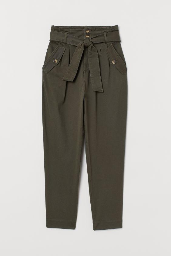 Photo of Paperbag bukser i twill – Kaki grønn – KVINNE   H&M DK