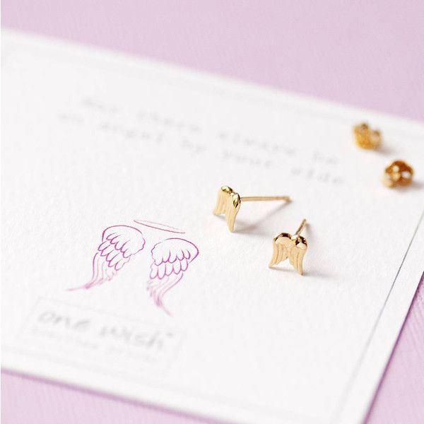 Grace & Valour Gold Angel Wing Stud Earrings (215 ARS) ❤ liked on Polyvore featuring jewelry, earrings, gold earrings, stud earrings, studded jewelry, angel wing stud earrings and gold stud earrings