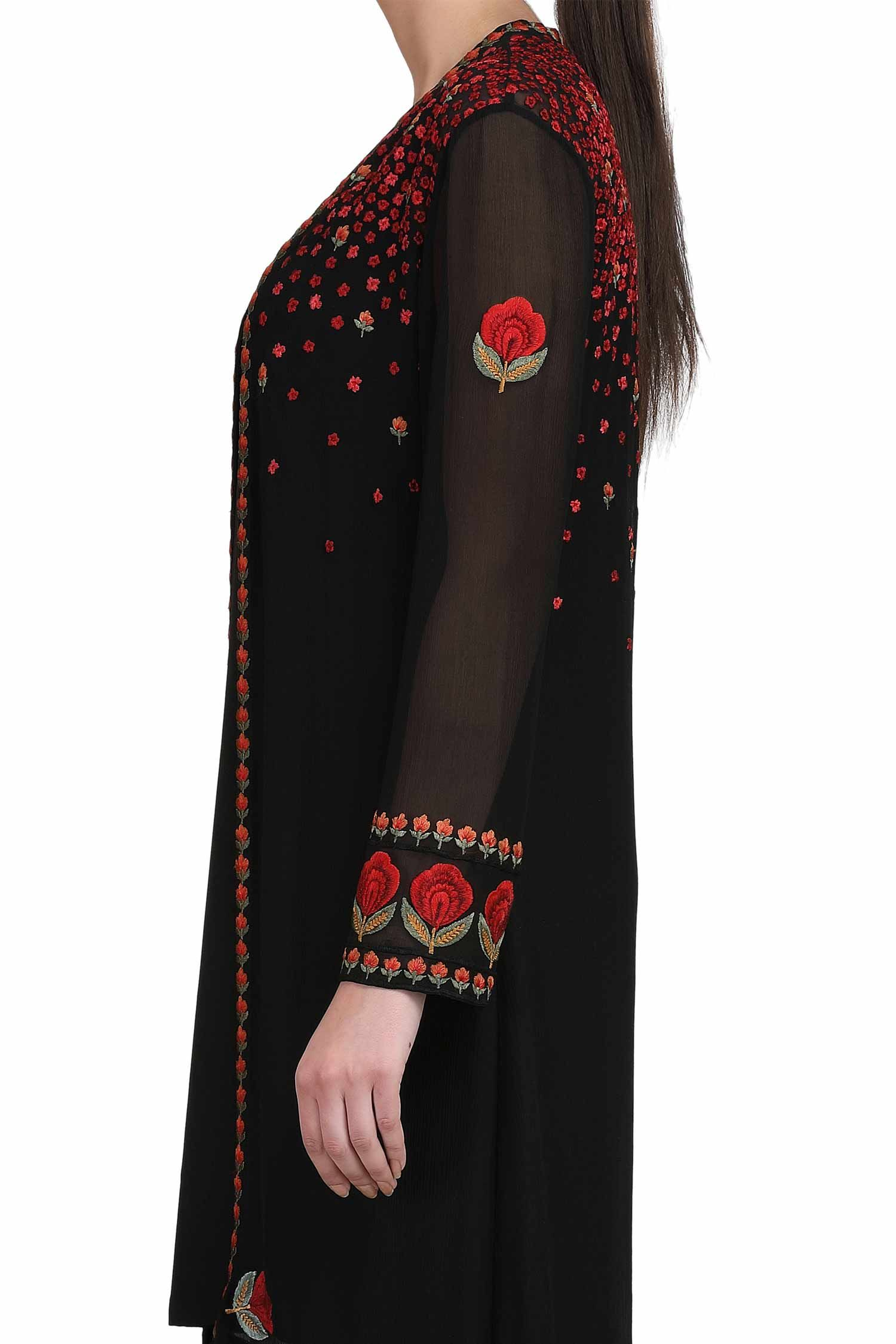 Black cape with slip and beige trousers long kurti pinterest