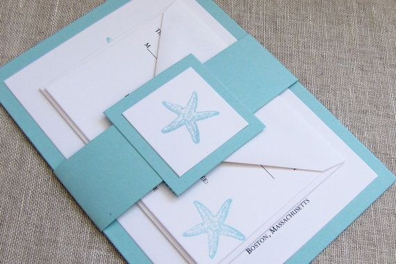 Turquoise Starfish Wedding Invitations Beach Wedding Invites Belly