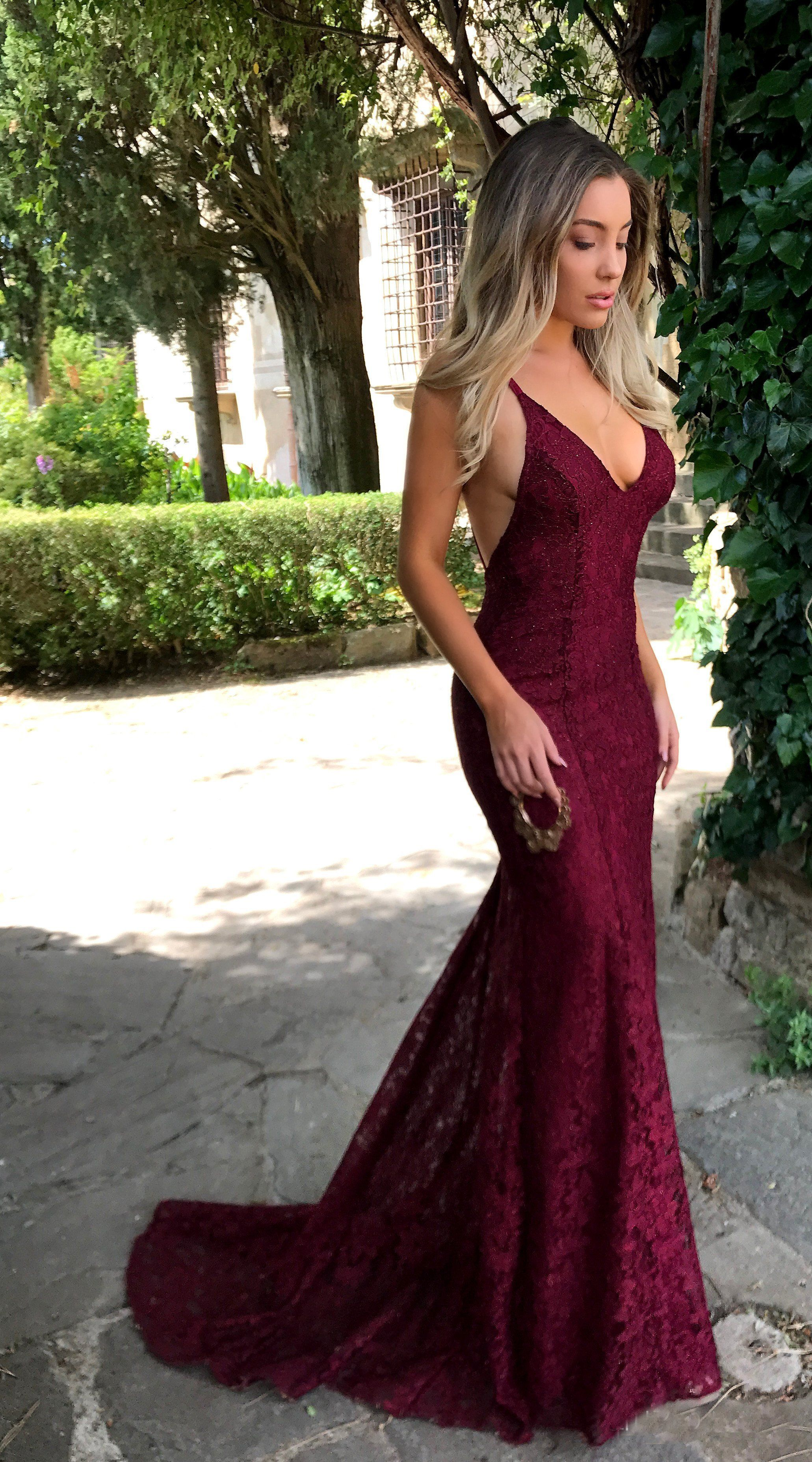 Long prom dress lace prom dress mermaid prom dress spaghetti