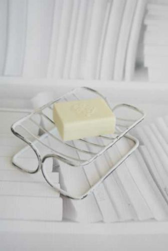 A wire soap dish will help your soaps last longer.