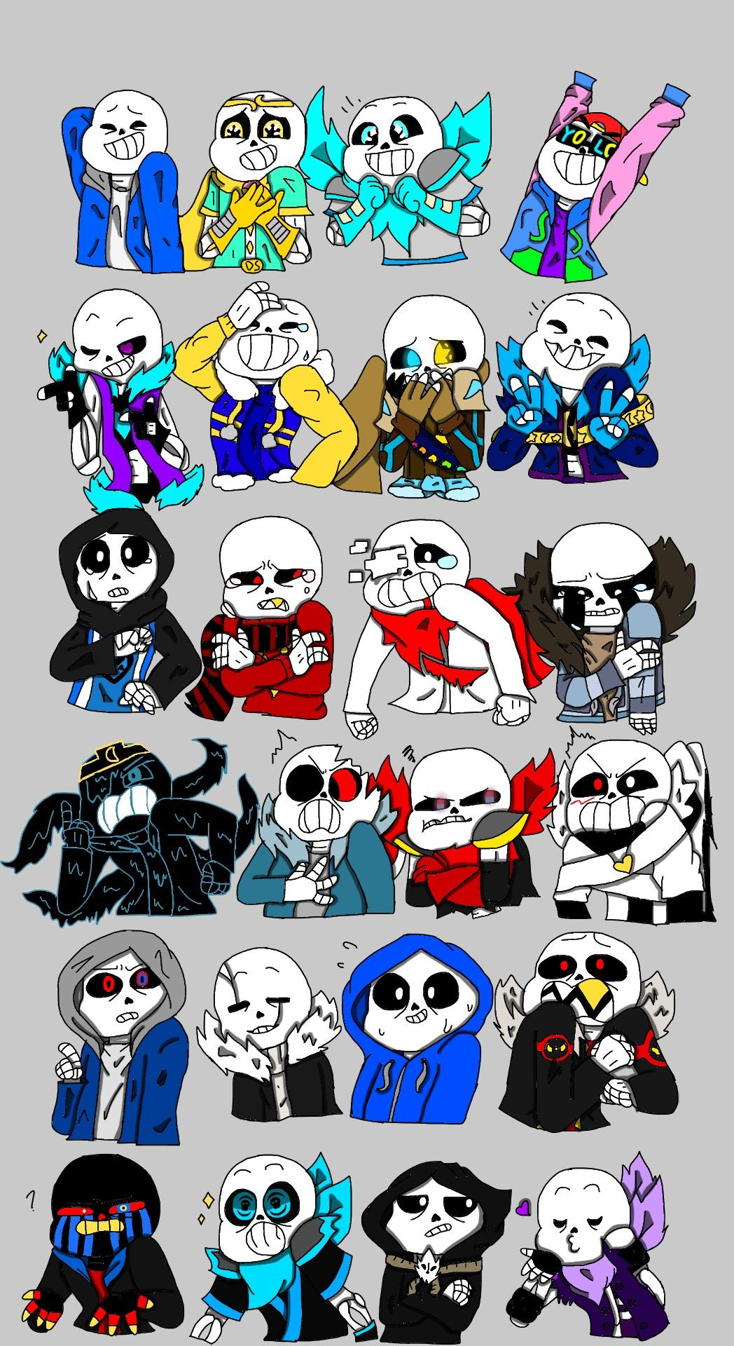 Emoticon meme with sans from different aus made by