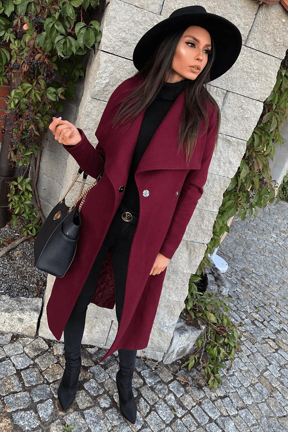 Gisele Bordo Illuminate Pl Brown Coat Outfit Maroon Coat Outfit Winter Coat Outfits