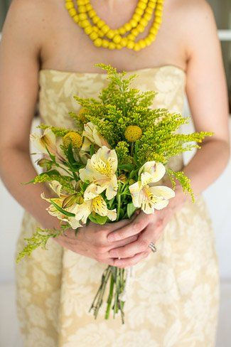 Quirky Yellow Bouquets: Liezl and her bridesmaids carried colourful yellow and pink wild flower bouquets, which her mom tied together with lace.  ♥  ♥  ♥ LIKE US ON FB: www.facebook.com/confettidaydreams  ♥  ♥  ♥  #wedding #YellowWedding #Yellow #RealBride #Quirky #SouthAfrica #RiebeekKasteel #bouquet