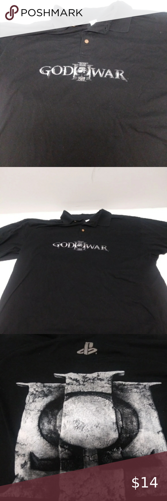 God Of War Polo Shirt Very Dusty Unisex Xl Gamestop Logo Has Been Washed Offers Welcome Gamestop Shirts Polos God Of War Polo Shirt Polo