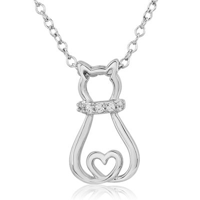 Zales Diamond Accent Sitting Cat Pendant in 10K White Gold sdnhKYQR