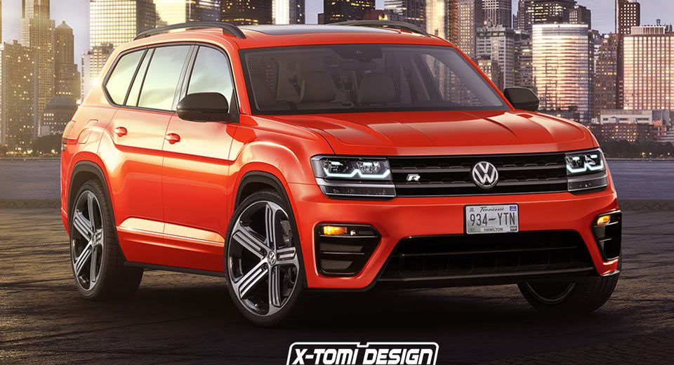 New Volkswagen Atlas Tries Out An R Suit In Orange Carscoops Volkswagen Volkswagen Car Car Volkswagen